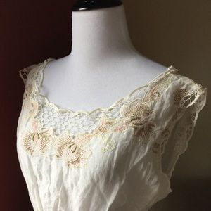 Vintage lace embroidery romantic sheer peasant top
